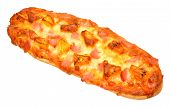 image of baguette  - Fresh ham and pineapple baguette pizza isolated on a white background - JPG