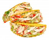 image of fill  - Chicken and salad filled crispy taco shells isolated on a white background - JPG