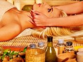 pic of beauty parlour  - Woman getting facial massage in tropical beauty spa - JPG