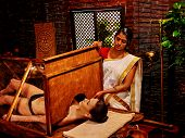 stock photo of panchakarma  - Woman having Ayurvedic sauna treatment - JPG