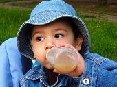 pic of panama hat  - Portrait of a sitting baby boy in a denim  panama hat drinking fron a bottle in a park at evening - JPG