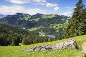 picture of bavaria  - View from mountain Jaegerkamp with view to Spitzingsee in the Alps in Bavaria Germany - JPG