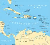 image of political map  - Caribbean political map with capitals - JPG