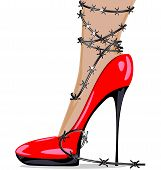 picture of big-foot  - womans foot in red shoes and barbed wire - JPG