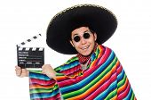 picture of clapper board  - Funny mexican in poncho with clapper - JPG