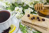 pic of chokeberry  - Healthy breakfast with integral biscuits honey and chokeberry tea - JPG