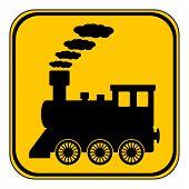 foto of locomotive  - Locomotive button on white background - JPG