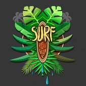 stock photo of silkscreening  - Summer artwork surf rerigion  - JPG