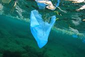 image of environmental pollution  - Environmental problem of plastic rubbish pollution in ocean - JPG