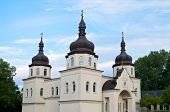 stock photo of cupola  - ukrainian church architecture of baroque style and copper clad domes with cupolas and crosses in arden hills minnesota - JPG