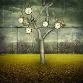 picture of surreal  - Surreal illustration of many clock and small mechanical owls on a tree and scattered in a mechanic landscape - JPG