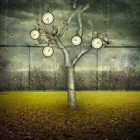 stock photo of surrealism  - Surreal illustration of many clock and small mechanical owls on a tree and scattered in a mechanic landscape - JPG