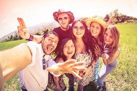 image of marsala  - Best friends taking selfie at countryside picnic  - JPG