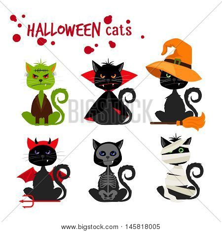 poster of Halloween black cat fashion costume outfits. Dead cat skeleton and mummy pussy cat , zombie kitty and vampire cat vector illustration isolated on white