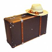 stock photo of old suitcase  - The old suitcase is symbolizeing of comeing and leaving - JPG