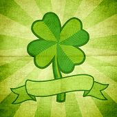 foto of four leaf clover  - Vector illustration of clover with four leaves and ribbon - JPG