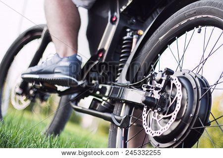 Man Biker Sitting On Electric