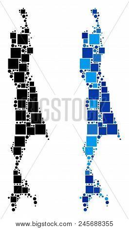 Dotted Sakhalin Island Map Variants