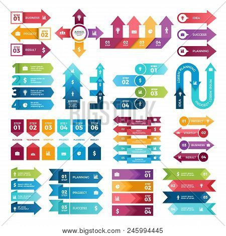 poster of Colored Arrows For Business Presentations. Vector Collection Of Infographic Elements. Illustration O