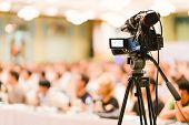 Video Camera Set Record Audience In Conference Hall Seminar Event. Company Meeting, Exhibition Conve poster