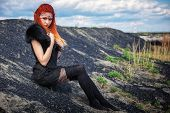 Elf Women With Fiery Hair On Nature. Beautiful Young Fantasy Girl. Cosplay Character poster