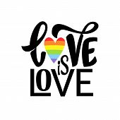 Gay Hand Lettering. Lgbt Rainbow Phrase Love Is Love poster