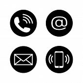 Contact Icons In Flat Style. Telephone, Mail, Mobile Phone, Email Icon Set Isolated On White Backgro poster