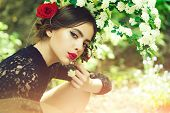 Skincare, Youth, Health. Beauty And Fashion, Pretty Girl With Fashionable Makeup And Red Lips, Has R poster