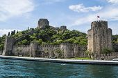 Beautiful Scenic View Of Castle On Bosphorus Coastline In Istanbul poster