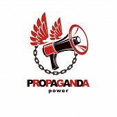 Vector Winged Logo Composed With Loudspeaker Equipment Surrounded By Iron Chain. Propaganda As The M poster