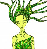 Forest Fairy Shaman. Isolated Pattern. Wood Nature Spirit . Decorative Fantasy Girl Element. Doodle  poster