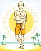 Handsome Bald Man Standing On Tropical Beach And Wearing Beachwear Shorts. Vector Human Illustration poster