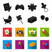 Stroller, Windmill, Lego, Balloons.toys Set Collection Icons In Black, Flet Style Vector Symbol Stoc poster