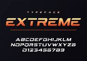 Extreme Trendy Futuristic And Sports Font Design, Alphabet, Typeface, Typography poster