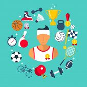 Athlete Icon Sports Items. Sports Abstract Background. Flat Style. Vector Illustration Cartoon Desig poster