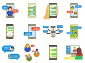 Flat Collection Of Chatting People, Bubble Speeches Messages On Phone, Online Chat App, Internet Cha poster