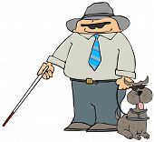 stock photo of seeing eye dog  - This illustration depicts a blind man and a dog with dark glasses - JPG