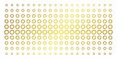 Cogwheel Icon Gold Colored Halftone Pattern. Vector Cogwheel Objects Are Arranged Into Halftone Arra poster