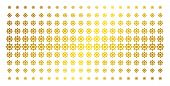 Cogwheel Icon Gold Halftone Pattern. Vector Cogwheel Objects Are Arranged Into Halftone Array With I poster