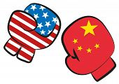 Usa China Trade War Conflict Illustrated By A Boxing Match With Usa And China Flags In Boxing Gloves poster