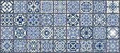 Vector Tiles Patterns. Seamless Flourish Backgrounds With Blue Flower Elements. Arabic Decorative De poster
