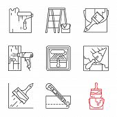 Construction Tools Linear Icons Set. Paint Roller, Scaffolding Ladder, Bucket With Brush, Hot Air Gu poster