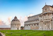 Piazza dei Miracoli (Square of Miracles) or Piazza del Duomo (Cathedral Square) with Pisa Baptistery poster