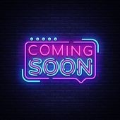 Coming Soon Neon Sign Vector. Coming Soon Badge In Neon Style, Design Element, Light Banner, Announc poster