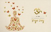 International Yoga Day Greeting Card For Special Event. Woman Meditating In Lotus Pose Made Of Gold  poster