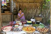 Myanmar Villager Selling Produce
