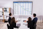 Group Of Businesspeople Analyzing Gantt Chart On Projector In Office poster