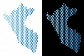 Hex Tile Peru Map. Vector Geographic Plan In Light Blue Color With Horizontal Gradient On White And  poster