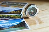 Compass On Blur Colorful Nature Photograph Of Popular Tourist Destination In Autumn Background, Chin poster