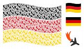 Waving German Flag. Vector Falling Airplane Icons Are Arranged Into Conceptual German Flag Collage.  poster